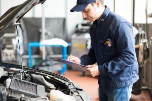 Mechanic checking a car