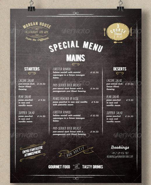 Blackboard Style Restaurant Menu Template - menu template