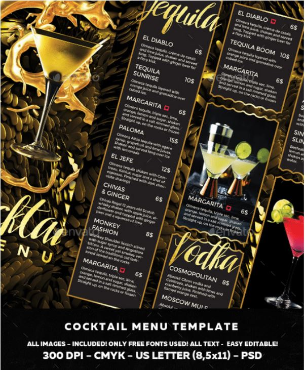 Cocktail & Bar Menu Template - menu template