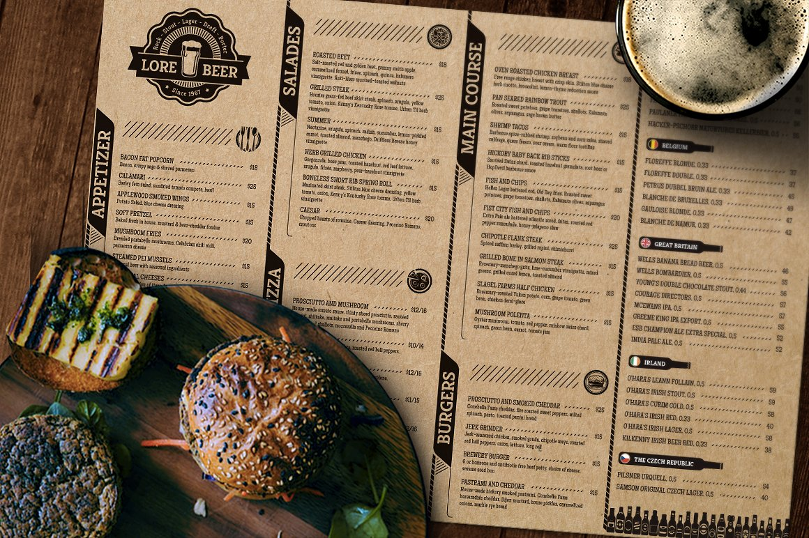 Beer Pub Menu - menu template