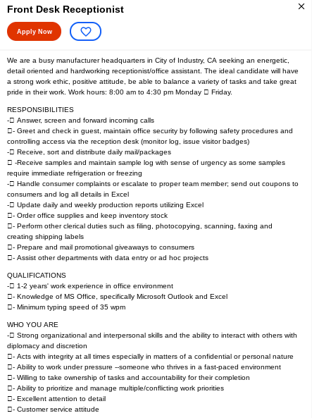 Sample job ad posted on Indeed - job ad