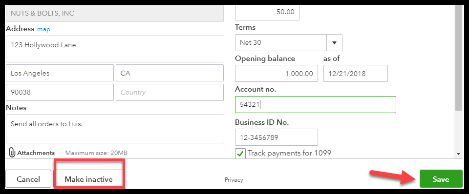 Inactive and Save buttons in QuickBooks
