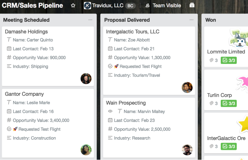 Example of a basic sales pipeline set up with Trello