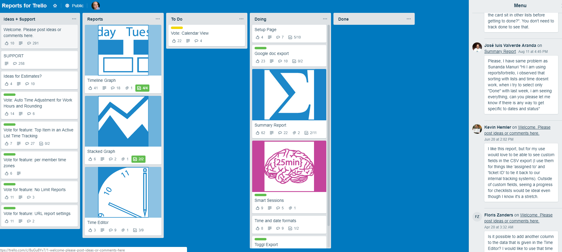 Example of public Trello board for new reporting tools