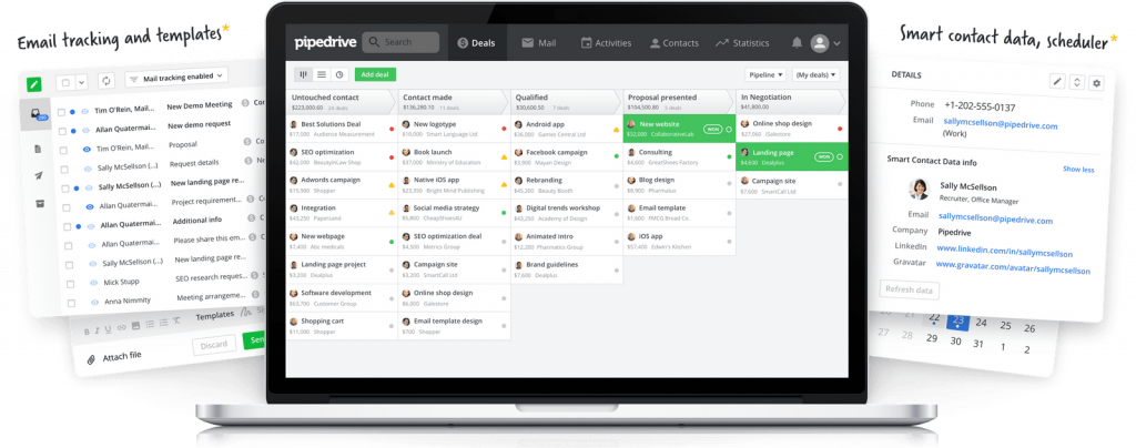 Screenshot of Pipedrive features