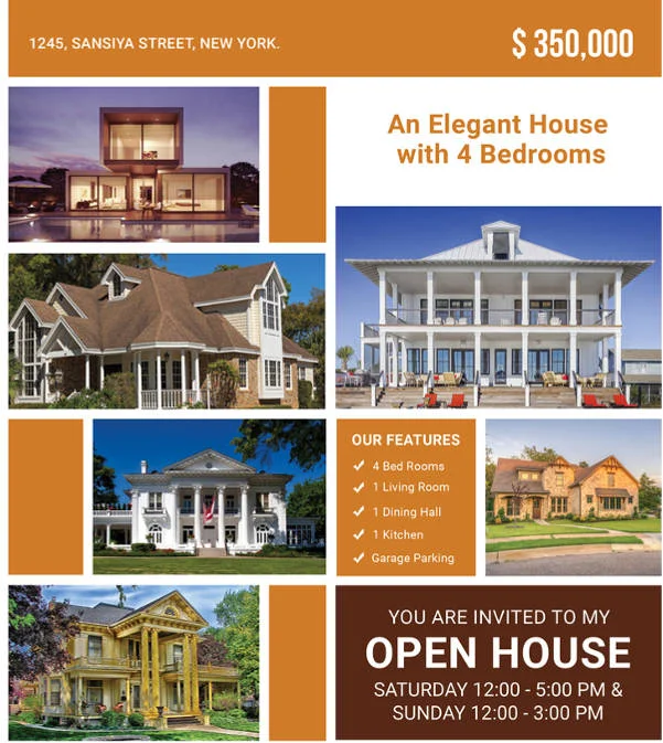 Block Style Open House Flyer - open house flyer
