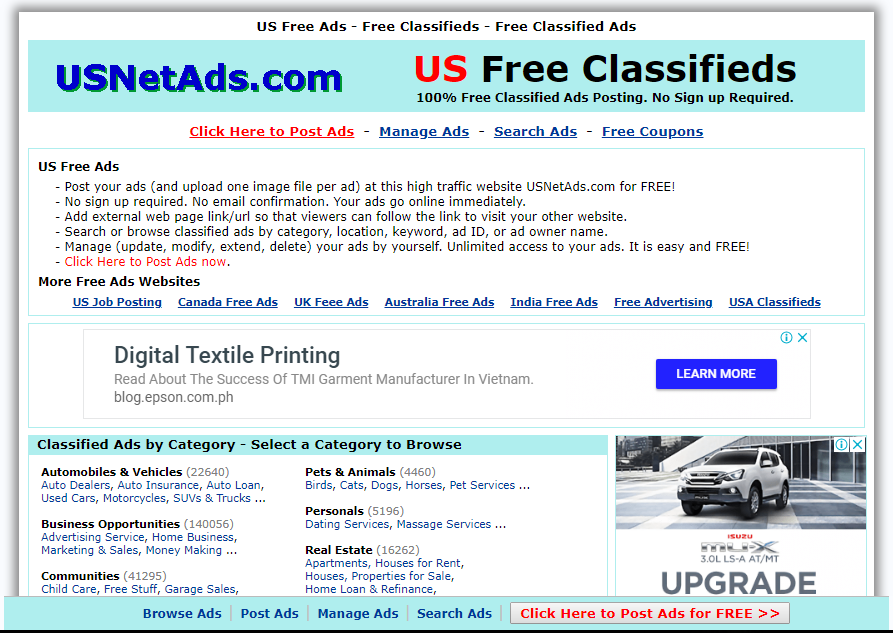 USNet Ads - Free Advertising Sites