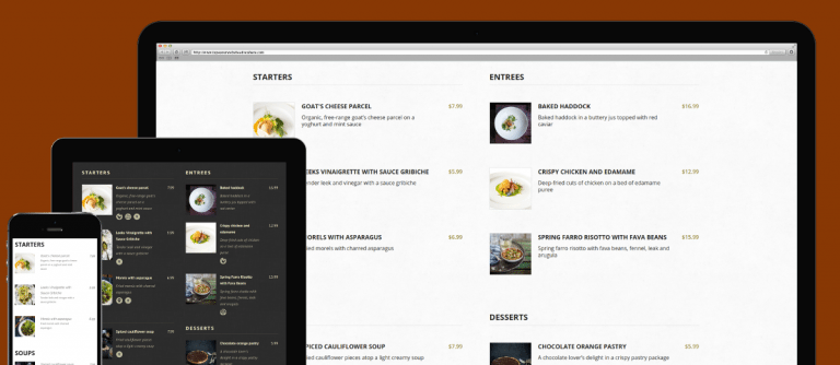 Responsive Website Restaurant Menu - menu template