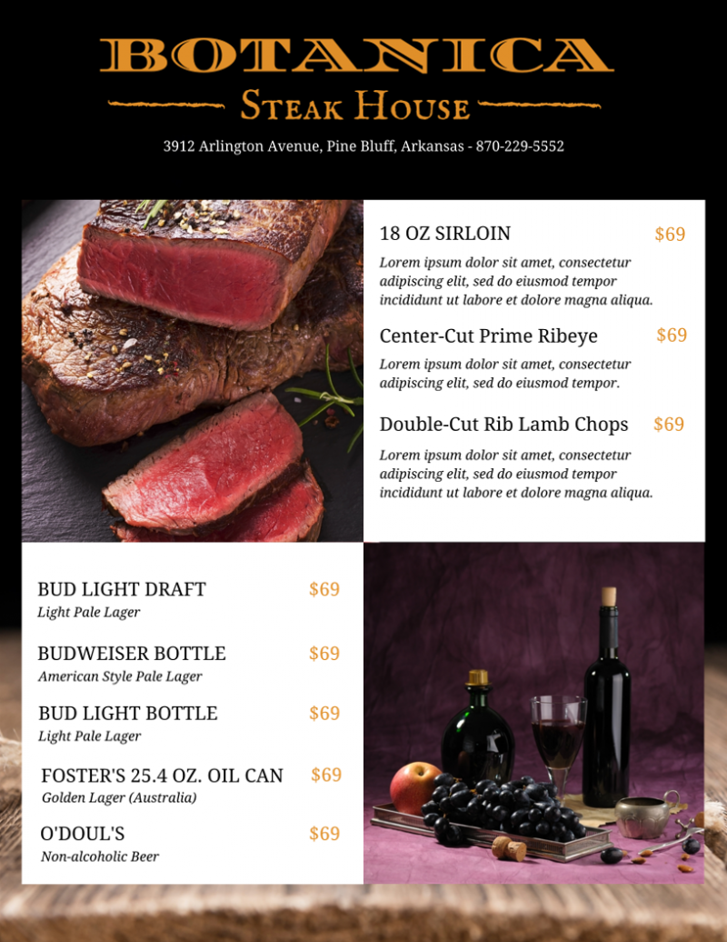 Steak House Restaurant Menu Template - menu template