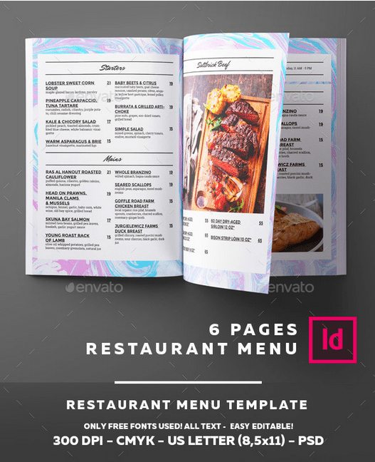 Tropical Themed Restaurant Menu Template - menu template
