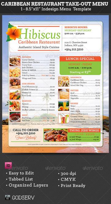 Caribbean Restaurant Menu Template - menu template