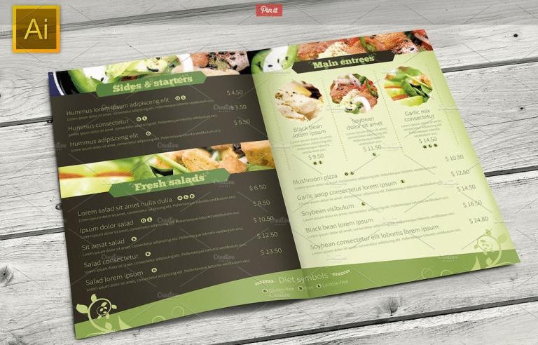 Vegetarian Restaurant Menu Template - menu template