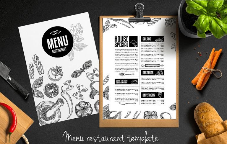 Bistro & Fusion Restaurant Menu Template - menu template