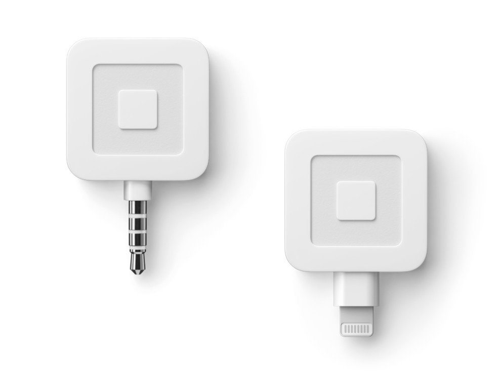 Square magstripe reader hardware. 3.5mm headphone jack and Apple Lightning compatible.