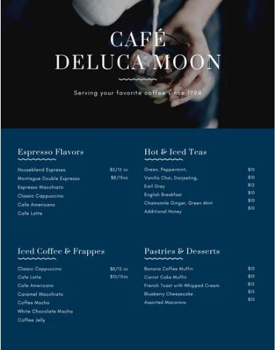Cafe Menu Template - menu template
