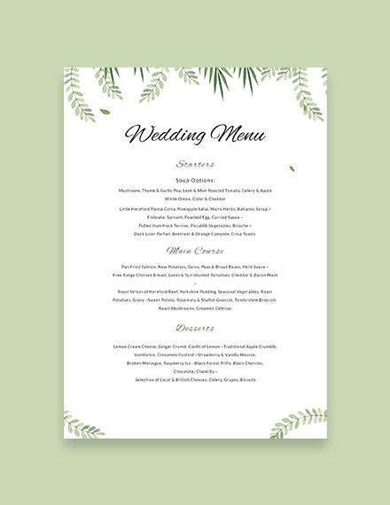 Wedding Menu Template - menu template