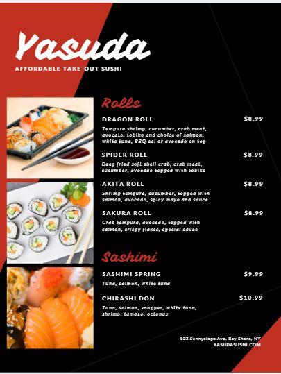 Sushi Menu Template - menu template
