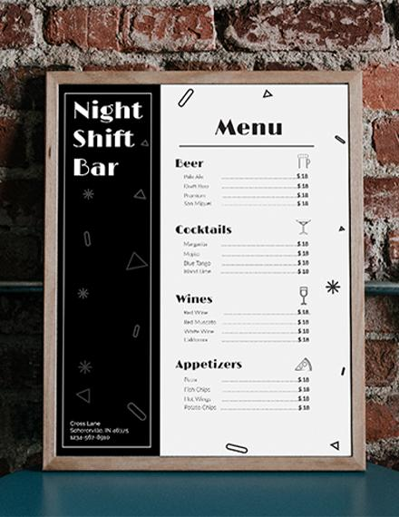 Bar Menu Template - menu template