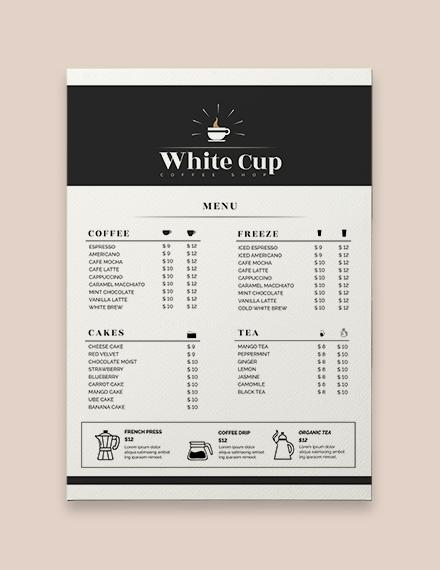 Coffee Shop Menu Template - menu template