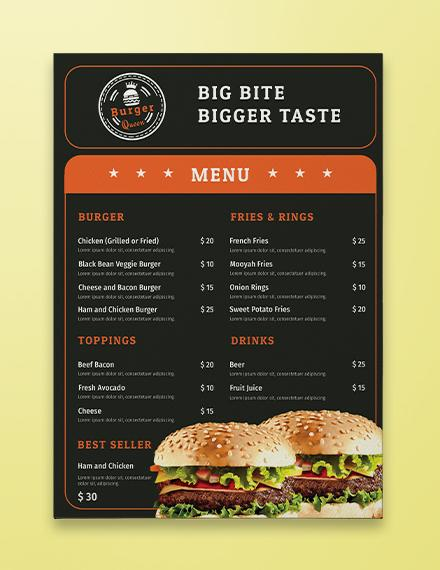 Burger Menu Template - menu template