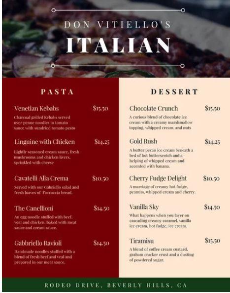 Italian Restaurant Menu Template - menu template