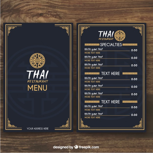 Thai Restaurant Menu Template - menu template