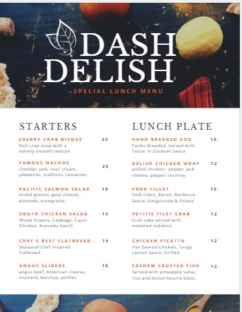 Lunch Menu Template - menu template