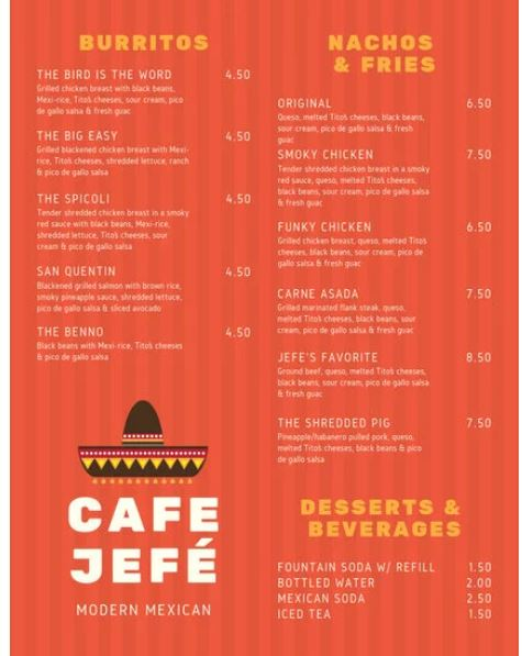Mexican Menu Template - menu template
