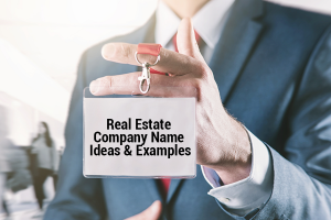 Real Estate Company Name Ideas and Examples written on an ID