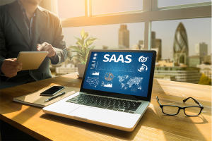 Saas CRM on a laptop screen