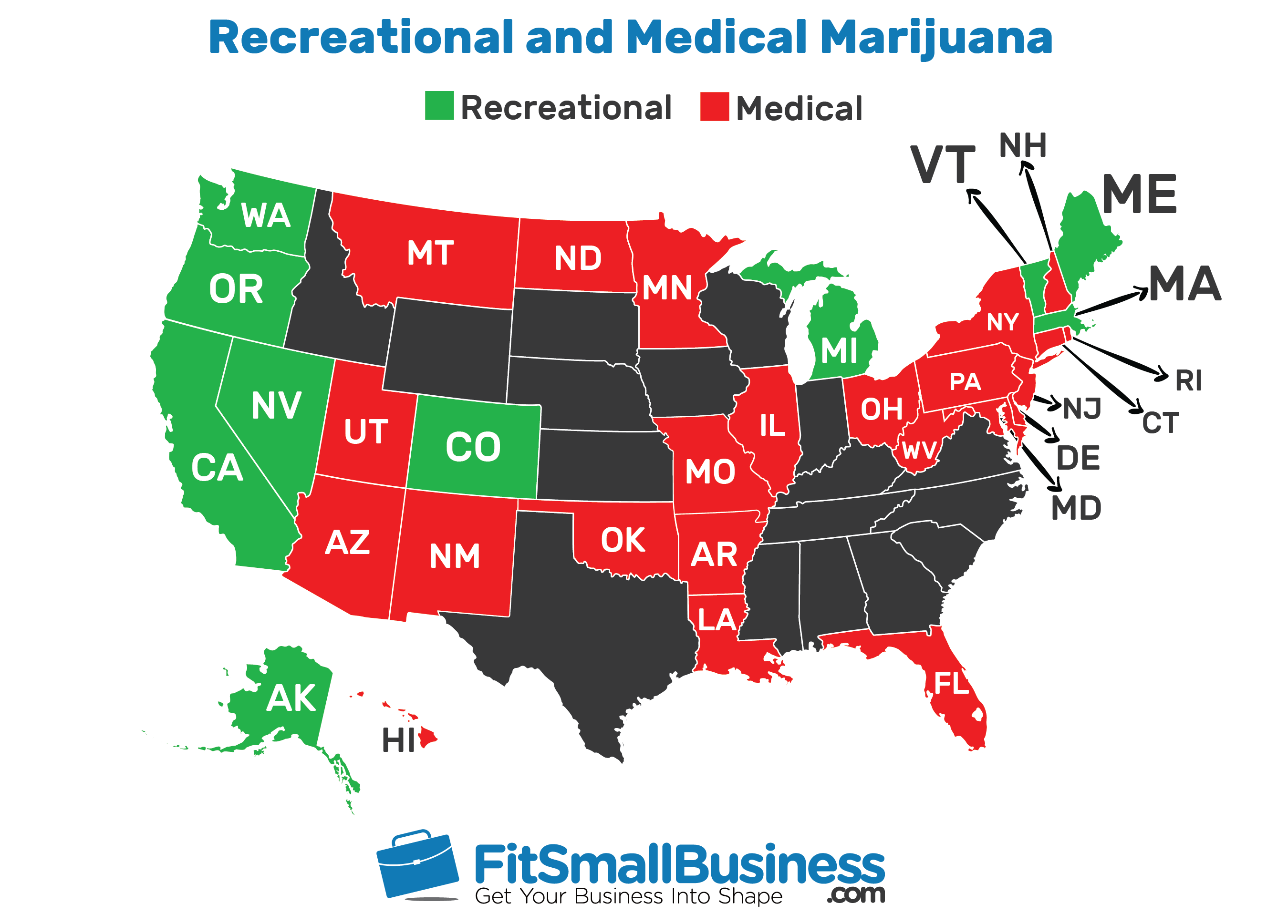 Map of where marijuana is legal for recreational and medical use