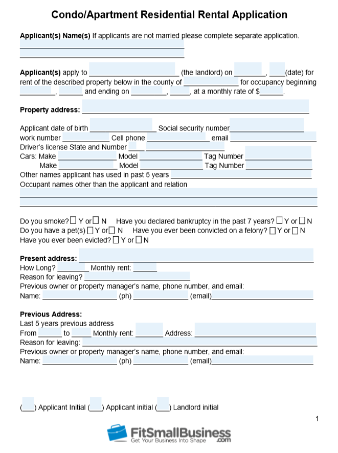 Condo/Apartment residential rental application form