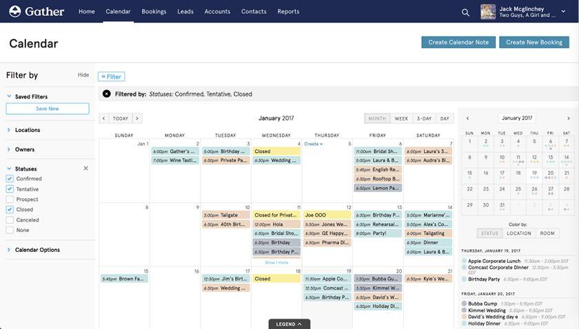 Gather's event calendar screenshot