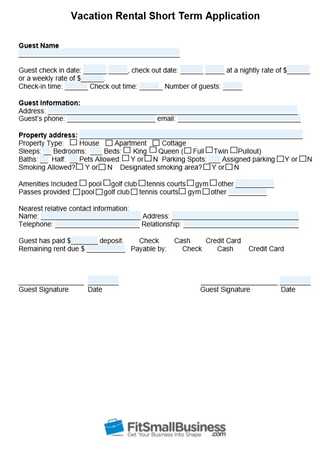 Vacation rental short term application form