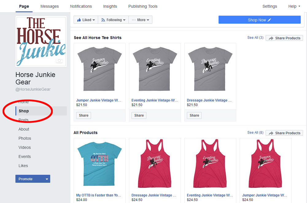 Facebook Shop on a business profile
