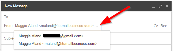 Example of Bluehost Business Email in Gmail