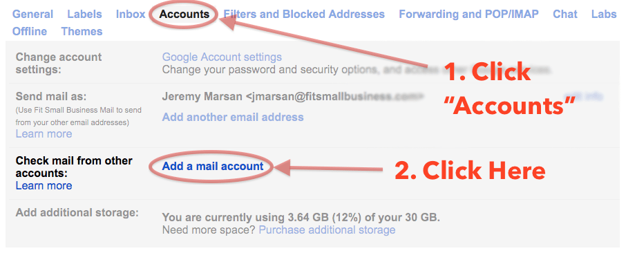 menu showing how to add a mail account to gmail in settings