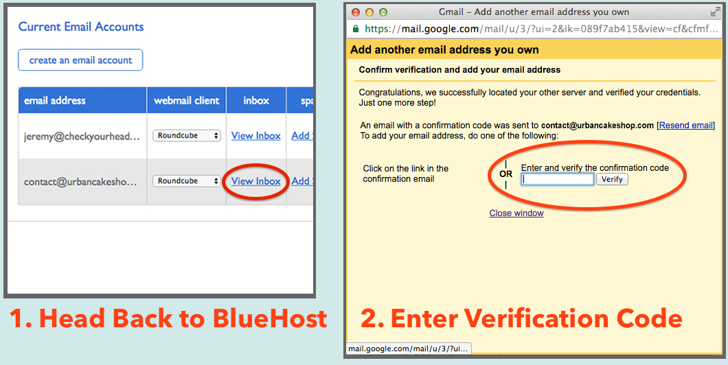 Connection process of a Bluehost email address to Gmail