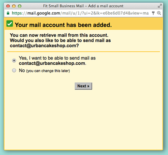 setup screen depicting the addition of another email address to send from via gmail