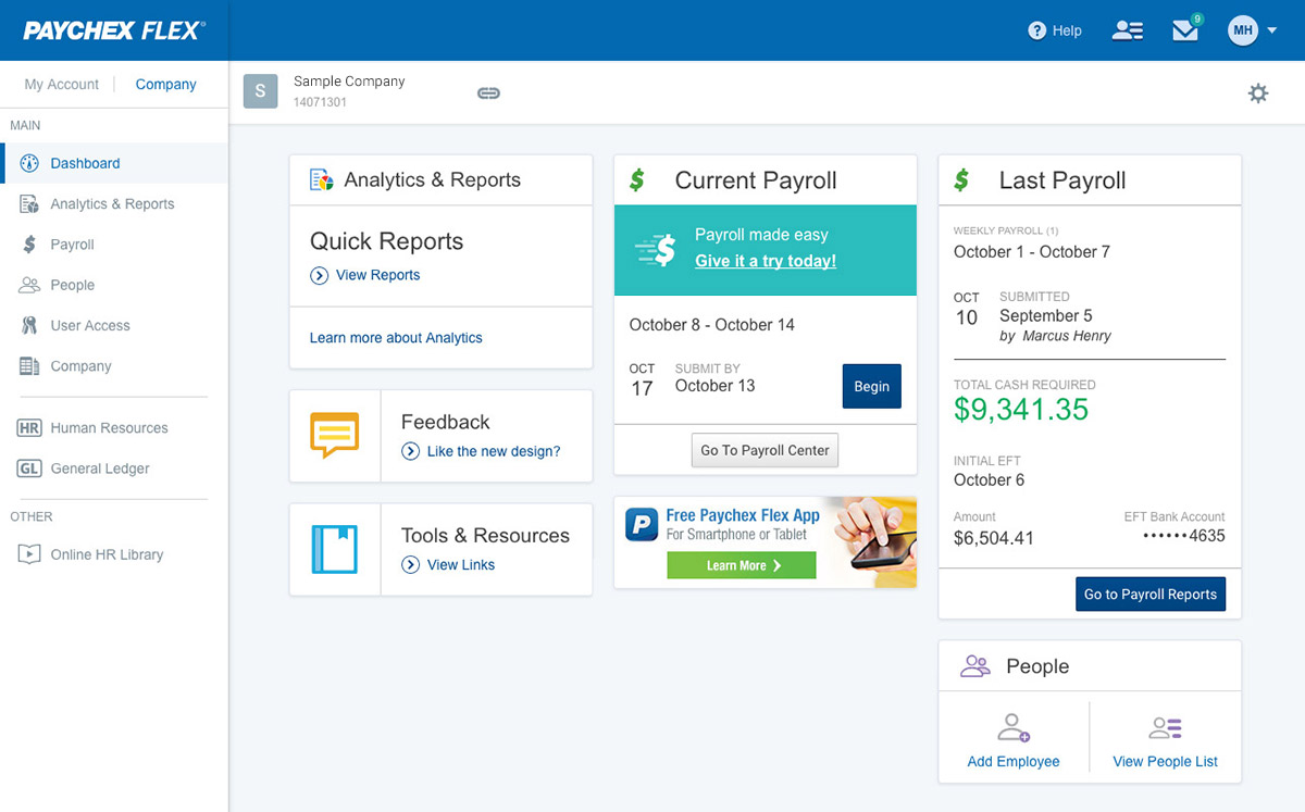 Paychex Flex payroll dashboard