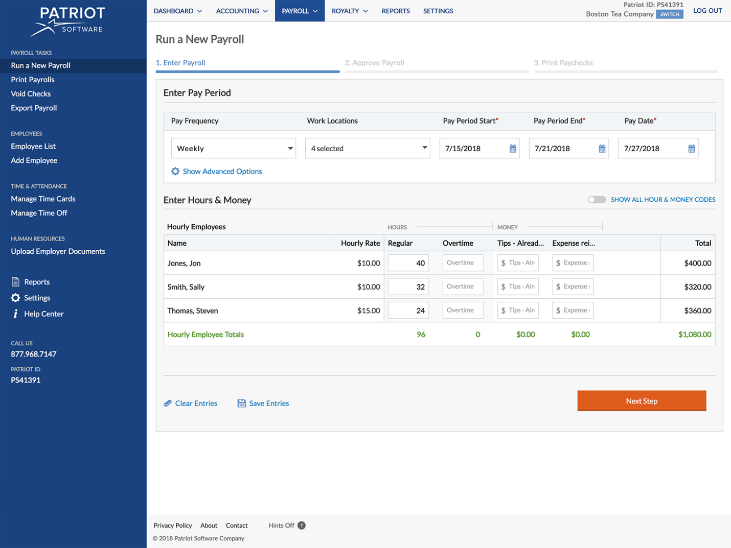 patriot payroll dashboard