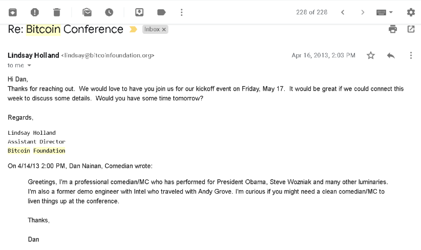 Comedian Dan - cold email example