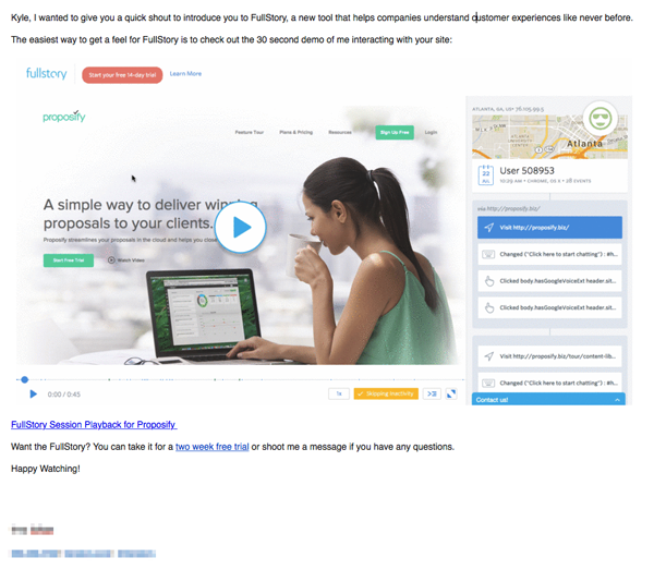 End with an Engaging Call-to-Action - cold email example