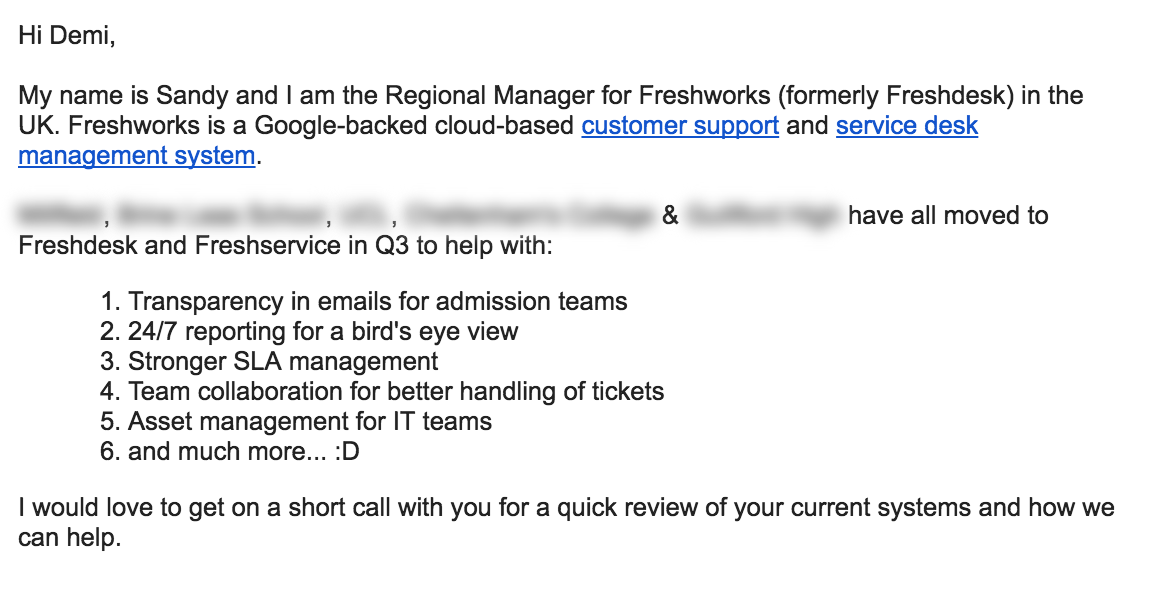 Maintain an Email Structure - cold email example