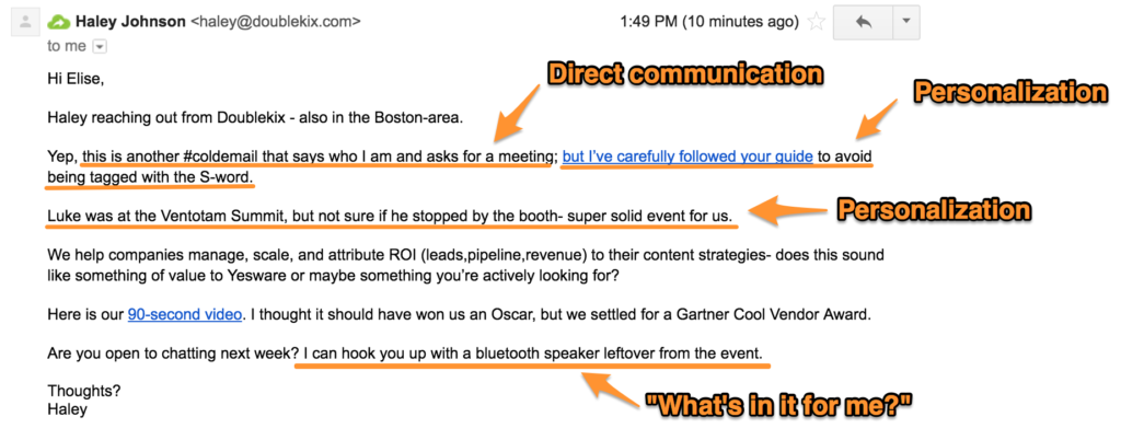 Be Honest and Direct- cold email example
