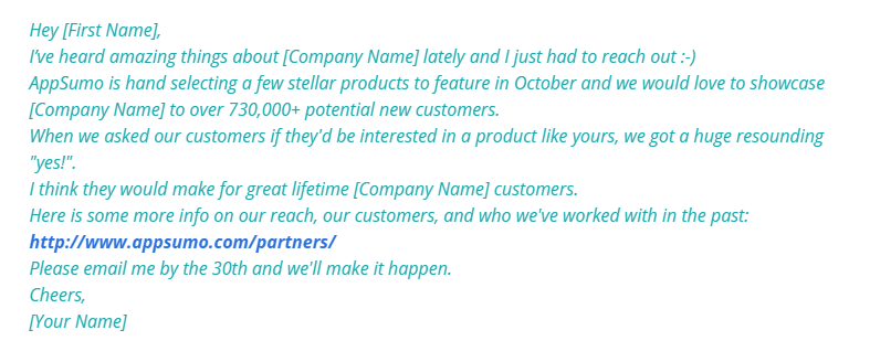 Showcase the Value You Can Deliver - cold email example