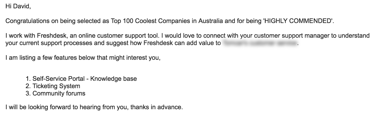 Share Useful Product/Service Features - cold email example