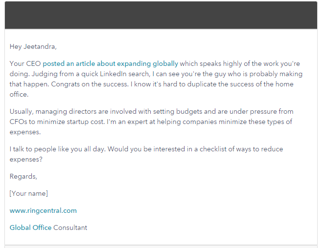 Respond to Your Prospect's Published Content - cold email example