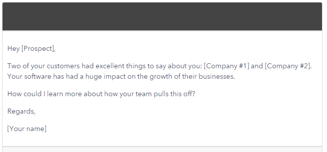 Include Feedback from Your Prospect's Customers - cold email example