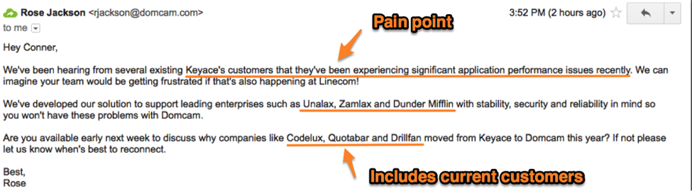 Leverage Your Competitor's Weakness - cold email example
